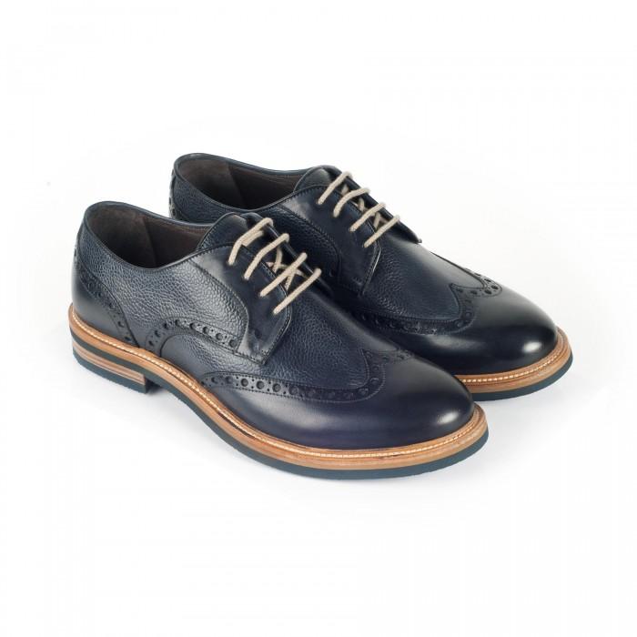 chaussure casual derby en cuir marine_3-4-1