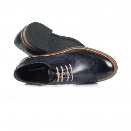 chaussure casual derby en cuir marine_HAUT-1