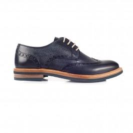 chaussure casual derby en cuir marine_PROFIL-1
