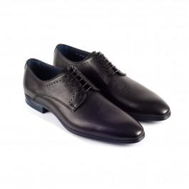Chaussures business Derby en cuir Noir_3-4