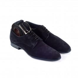 Chaussures business Derby en cuir marine_3-4-ceinture