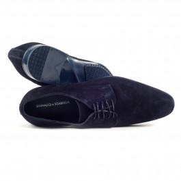 Chaussures business Derby en cuir marine_haut