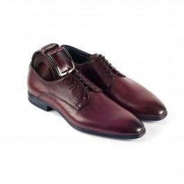 Chaussures business Derby en cuir brun_3-4-ceinture