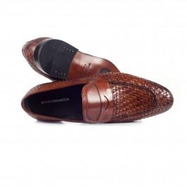 chaussure business Mocassin en cuir brun_HAUT-1