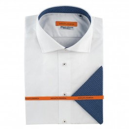 Chemise casual blanche slim col italien_FACE