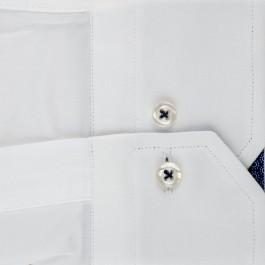 Chemise casual blanche slim col italien_MANCHE