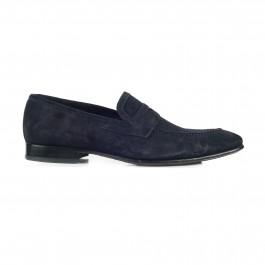 chaussure business mocassin en cuir marine_PROFIL-1