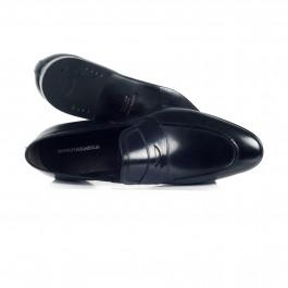 chaussure business Mocassin en cuir noir_HAUT-1