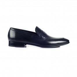 chaussure business Mocassin en cuir noir_PROFIL-1