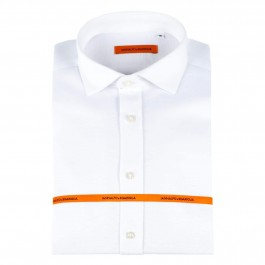 Chemise casual blanche slim col italien_Full