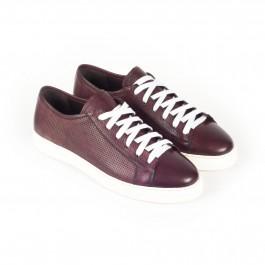 chaussure casual sneakers en cuir bordeaux_3-4-1