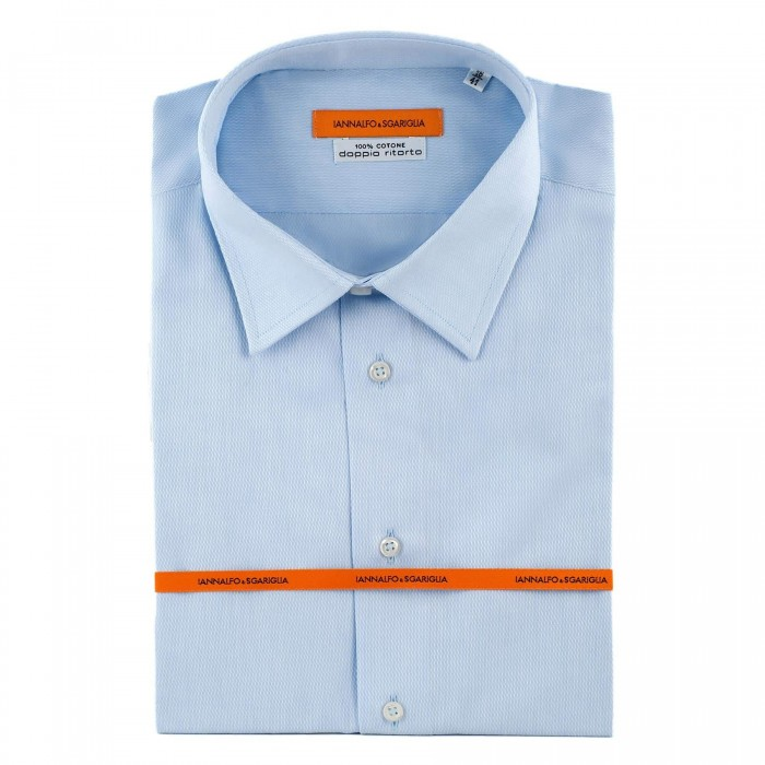 chemise Iannalfo&Sgariglia business bleu ciel slim col classique full