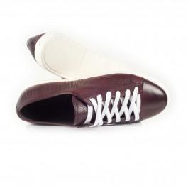 chaussure casual sneakers en cuir bordeaux_HAUT-1