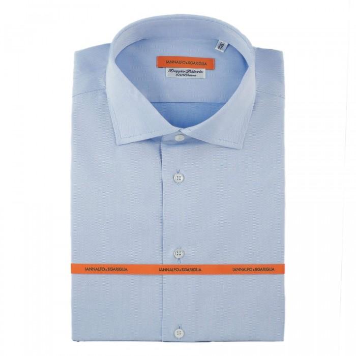 chemise Iannalfo&Sgariglia business bleu ciel slim col italien