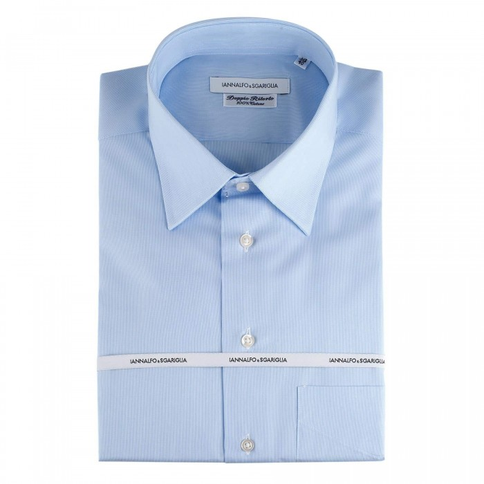 chemise casual regular bleu col classique