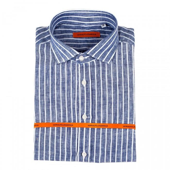 chemise casual Innalfo&Sgariglia marine slim col italien
