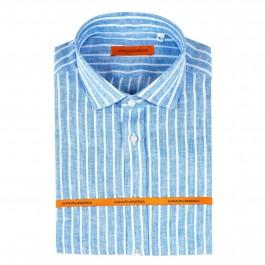 chemise casual Iannalfo&Sgariglia bleu ciel slim col italien