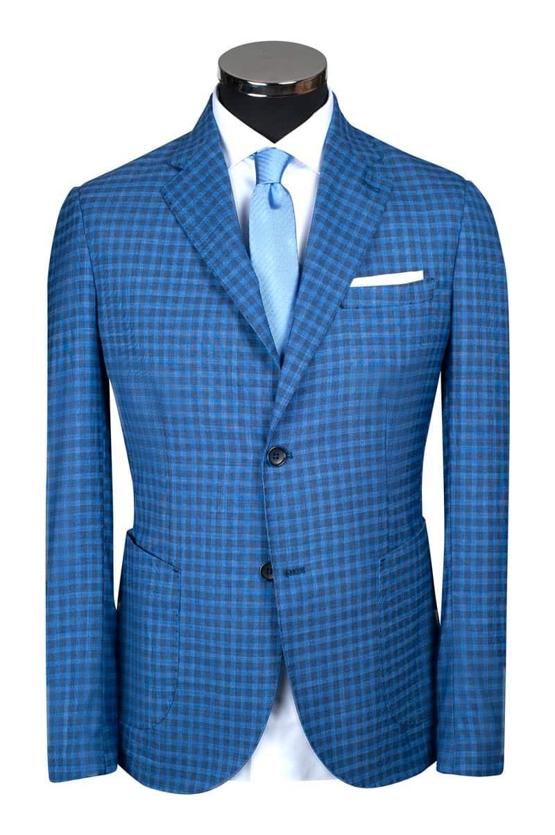 costume sur mesure à carreaux bleu