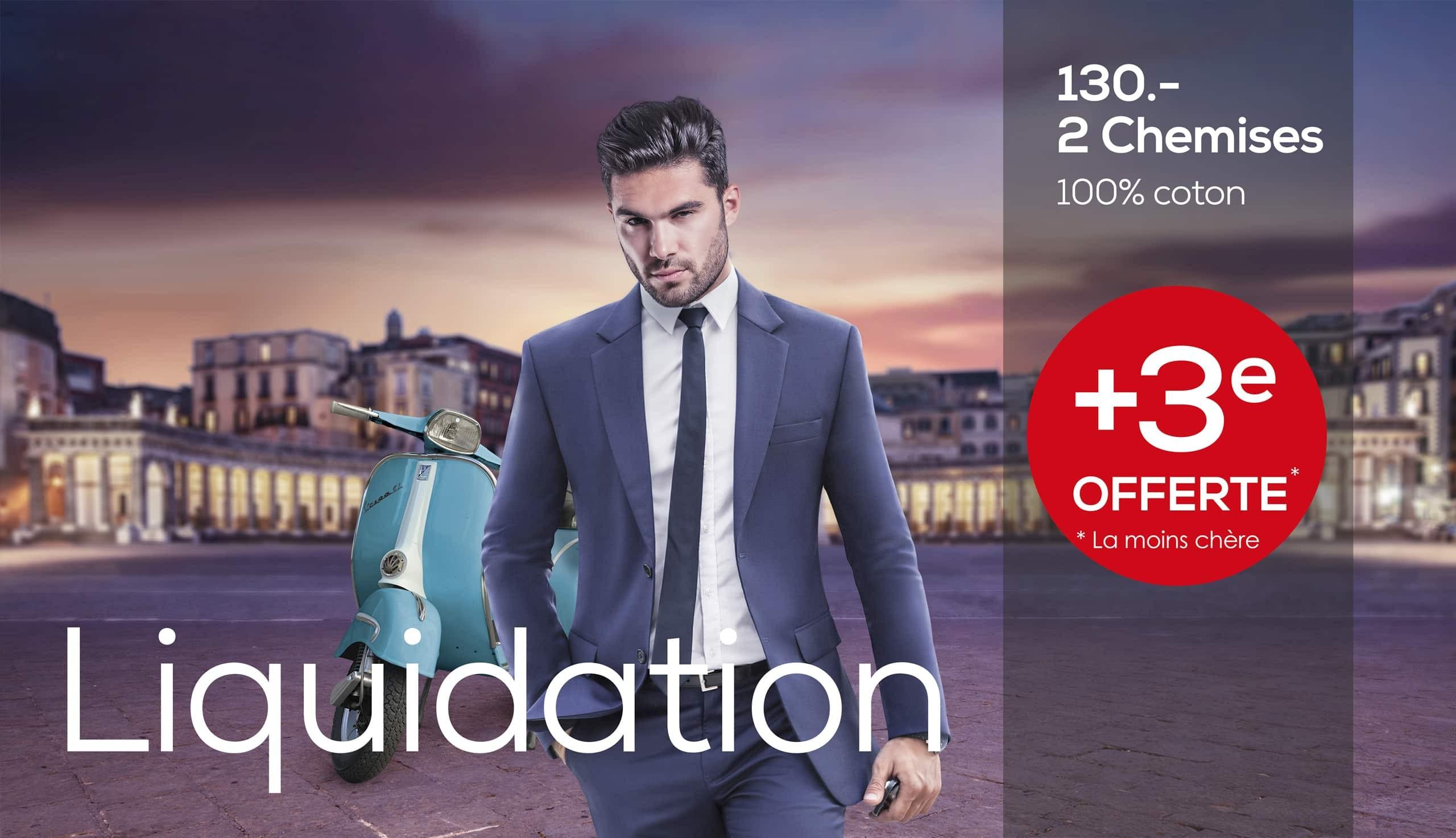 Liquidation chemises 100% coton  +3ème paire OFFERTE